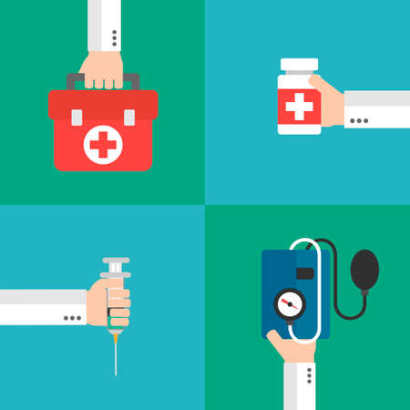 outpatient: Medical therapy flat design set.Vector illustration