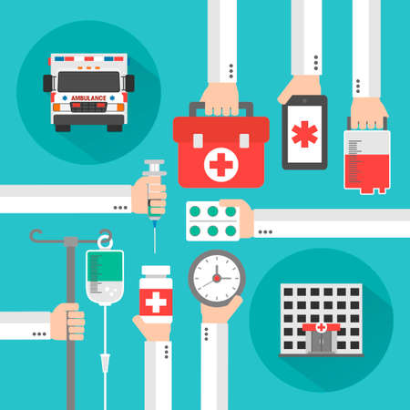 therapeutical: Medical service flat background with hand .Vector illustration