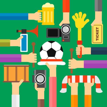 soccer fan: Modern soccer fan flat design.Vector illustration Illustration