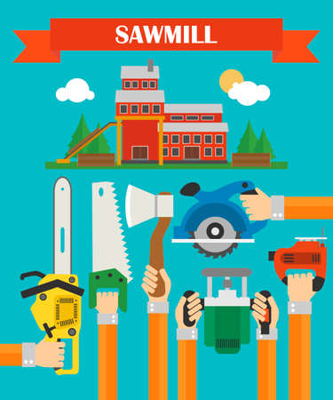 woodsman: Modern concept design sawmill flat.Vector illustration
