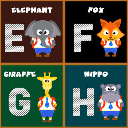 g giraffe: The English alphabet letter E,F,G,H.