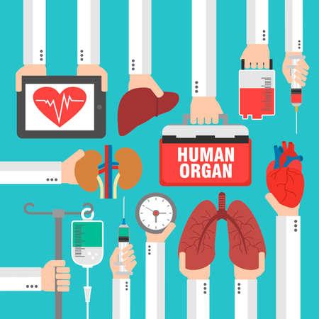 donacion de organos: órgano humano para el diseño del trasplante plana Vectores