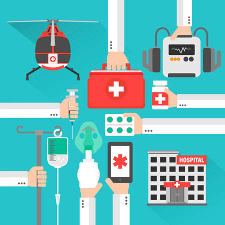 Medical helicopter hospital flat design card with hand