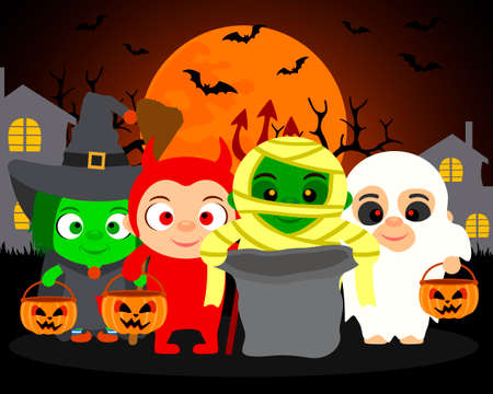 Trick or Treat ,vector Halloween background with kids in Halloween costume