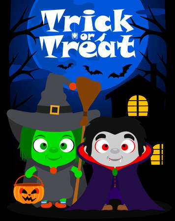 trick or treating: Halloween background  trick or treating with children in Halloween costume ,vector Illustration