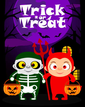 monsters house: Halloween trick or treating background with children in Halloween costume Illustration