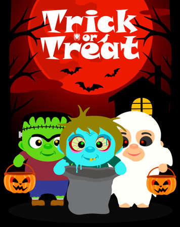 intimidate: Halloween background with children trick or treating in Halloween costume
