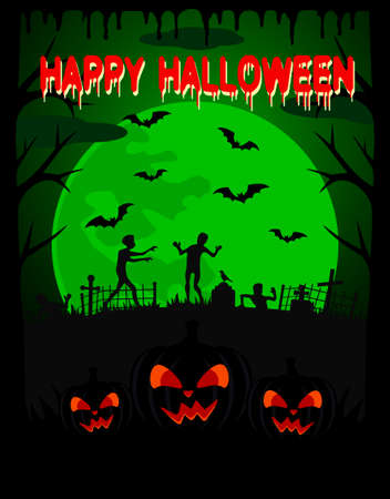 scary pumpkin: Happy Halloween vector background with zombie and scary pumpkin Illustration