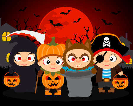 Trick or Treat ,Halloween vector background with kids in Halloween costume