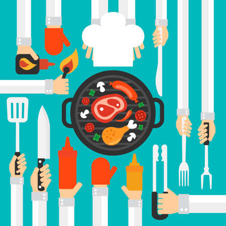 grill tongs sausage: Barbecue and grill concept vector design  flat .Vector illustration
