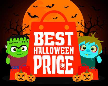Best Halloween price design background.Vector illustration