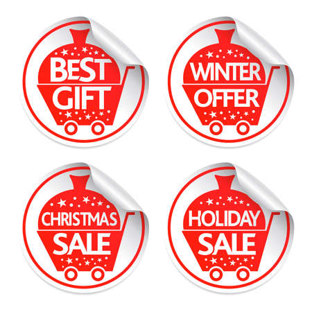 holiday: New Year holiday stickers sale set.Vector Illustration