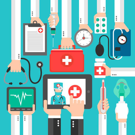 Online Medical diagnostics concept design flat.Vector illustration
