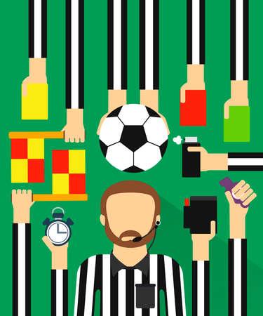 Soccer referee modern design fla sett.Vector illustration Illustration
