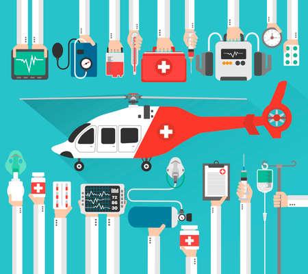 Helicóptero de ambulancia, diseño médico plana. Ilustración vectorial