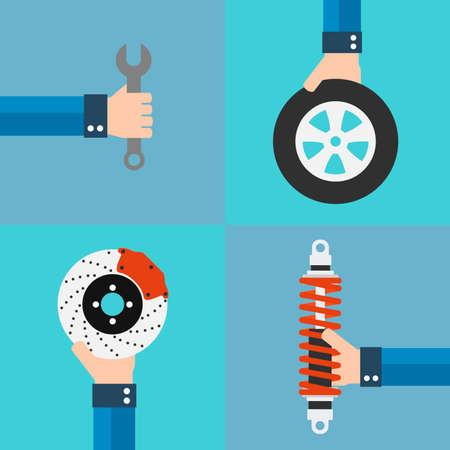 disk break: Car service flat design set with wheel,shock absorber,brake disk.Vector Illustration