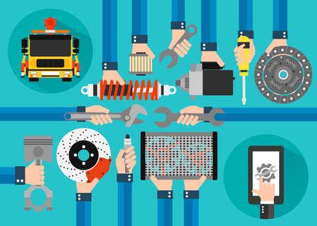 Car service online concept design flat set with evacuator.Vector illustration Illustration