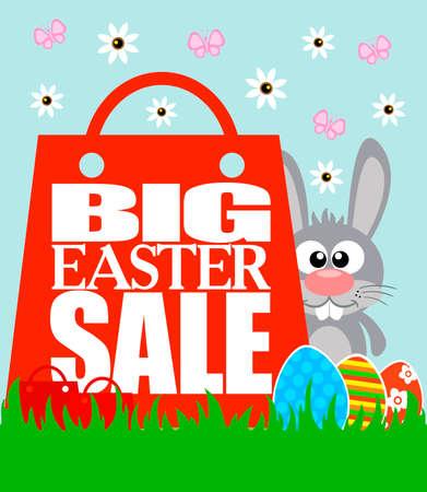 Best Easter Price card, funny rabbit .Vector illustration Illustration