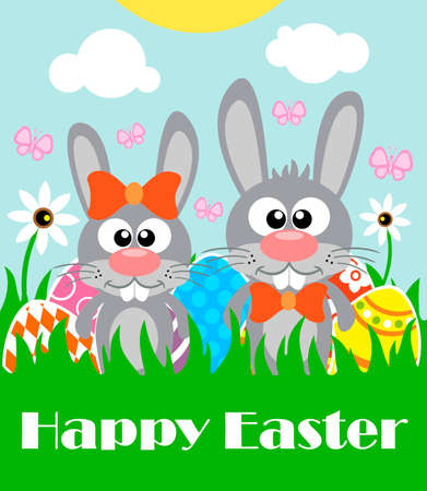 Happy Easter background card with two funny rabbits.Vector illustration