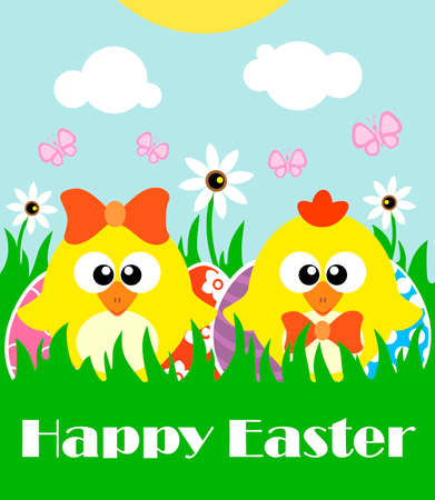 Happy Easter background card with two funny chickens