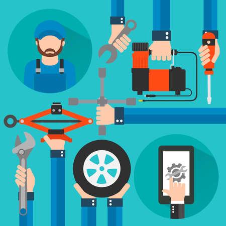 Car Online Service with repairer modern concept flat design.Vector illustration Illustration