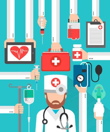 Medical flat design card with doctor .Vector illustration