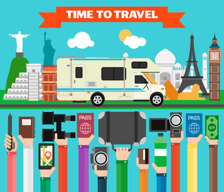 Travel composition with famous world modern flat design with camper,trailer.Vector illustration