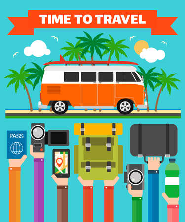 Time to Travel modern design flat with minibus,summer holiday.Vector illustration