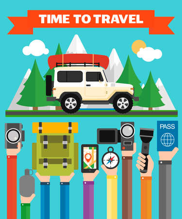 Time to Travel modern flat design with jeep,summer holiday .Vector illustration