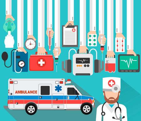 Medical concept design flat with doctor and ambulance.Vector illustration Illustration