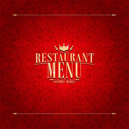 Restaurant red Menu design, vintage card Illustration