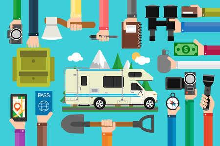 Camping travel concept design flat with camper,trailer.Vector illustration Illustration
