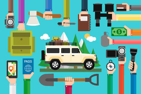 Camping travel concept design flat with vehicle. Vector illustration Illustration