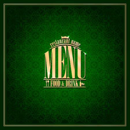 Food and drink Restaurant Menu design ,vintage card green