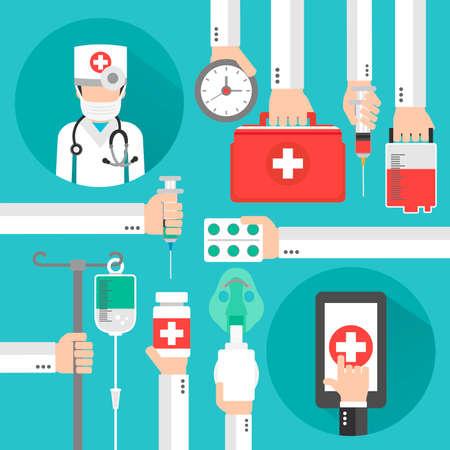 Medical online design flat with doctor in the mask.Vector illustration