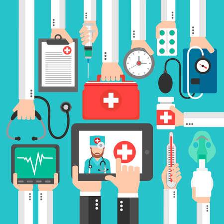 Online Medical diagnostics concept design flat call the doctor.Vector illustration Illustration
