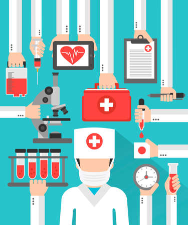 Medical blood analysis flat design  with doctor in the mask.Vector illustration