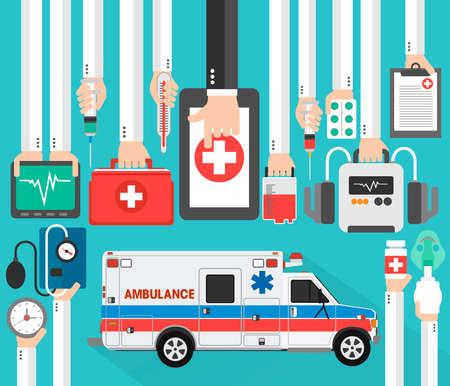 Medical online design flat with ambulance.Vector illustration