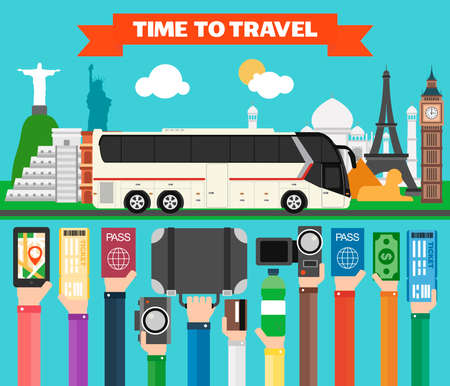 Time to travel flat design with tourist bus. Summer holiday.Vector illustration