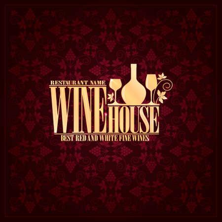 Wine house menu Vintage violet design card