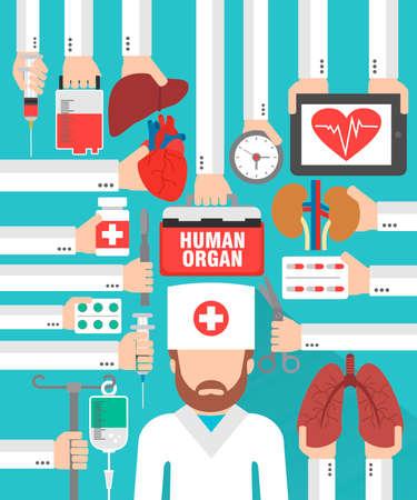 Human organ for transplantation design flat with  doctor surgeon.Vector illustration Illustration