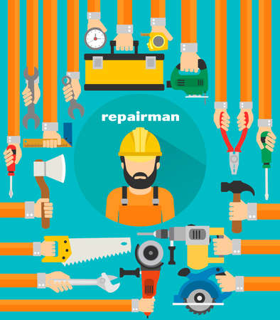 Repairman concept design flat .Vector illustration Illustration
