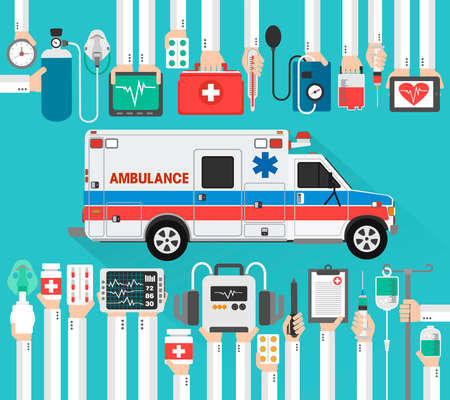 Healthcare flat design with ambulance car.