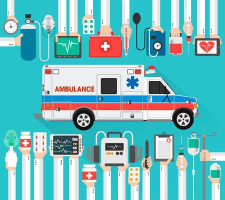 Healthcare flat design with ambulance car.