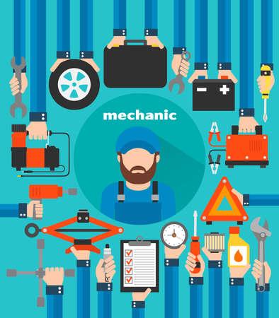Mechanic car service modern design  flat.