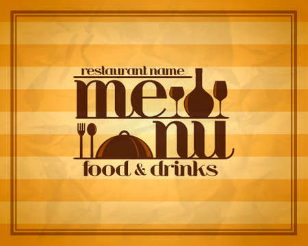 Food and drinks restaurant retro menu concept design style.Vector illustration