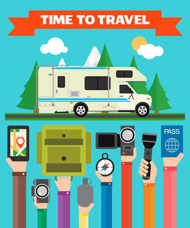Time to Travel modern flat design with with camper,trailer,summer holiday .Vector illustration