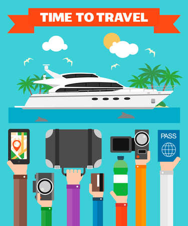 Time to Travel Flat design with yacht .Modern vector illustration Illustration