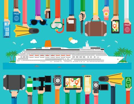 Time to travel cruise passenger liner flat design.Vector illustration