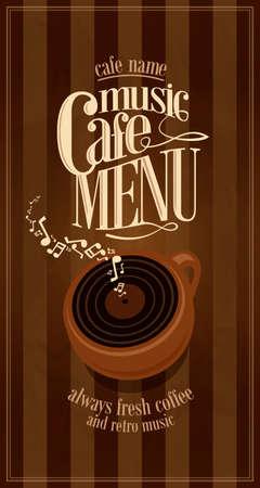 Retro music long cafe menu .Vector illustration Illustration